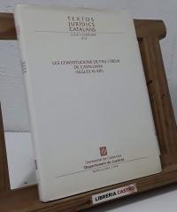 Les Constitucions de pau i treva de Catalunya (Segles XI-XIII) - Varios