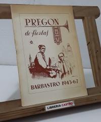 Pregón de fiestas. Barbastro 1943 - 67 - Varios