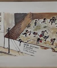 Litografía humorística. Solar destinat a escola a construir quan hi hagi diners (edició numerada i signada per l´autor) - Francesc Vila i Rufas, més conegut com a Cesc