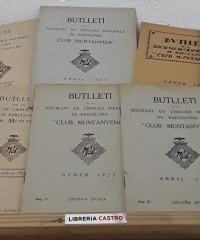 Butlletí de la Societat de Ciencies Naturals de Barcelona Club Muntanyenc - 1922, nº 1 i 2 1923, nº 3 i 4 i 1924, nº 7 i 8- Any I, II i III, segona época (VI butlletins) - Varis