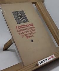 Conftitucions dels Pares antichs del Orde de la Verge María de la Mercè - Anónimo